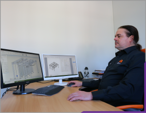 One of the DQ team producing a CAD design