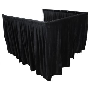 2.2mW x 1.5mD Velvet Op Surround Drape with Top Pocket, Ties and Velcro Patches - Black; includes Bag