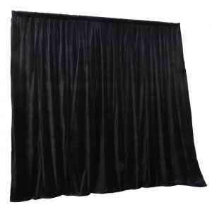 3.15mW x 3.0mD Velvet Drape with Top Pocket, Ties and Velcro Patches - Black; includes Bag