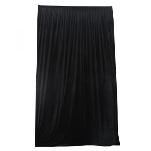 3.15mW x 6.0mD Velvet Drape with Top Pocket, Ties and Velcro Patches - Black; includes Bag