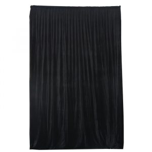 3.75mW x 6.0mD Velvet Drape with Top Pocket, Ties and Velcro Patches - Black; includes Bag