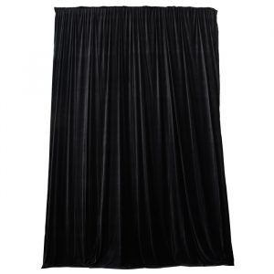 3.75mW x 9.0mD Velvet Drape with Top Pocket, Ties and Velcro Patches - Black; includes Bag