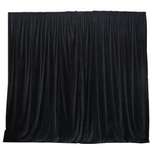 6.25mW x 6.0mD Velvet Drape with Top Pocket, Ties and Velcro Patches - Black; includes Bag
