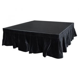 4.0mW x 0.3mD Velvet Skirt with 50mm Velcro Strip along Top and Side Patches - Black