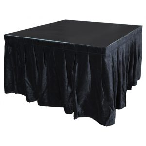 4.0mW x 0.6mD Velvet Skirt with 50mm Velcro Strip along Top and Side Patches - Black
