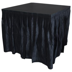 4.0mW x 0.9mD Velvet Skirt with 50mm Velcro Strip along Top and Side Patches - Black
