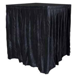 4.0mW x 1.2mD Velvet Skirt with 50mm Velcro Strip along Top and Side Patches - Black