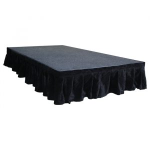 6.0mW x 0.3mD Velvet Skirt with 50mm Velcro Strip along Top and Side Patches - Black