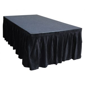 6.0mW x 0.6mD Velvet Skirt with 50mm Velcro Strip along Top and Side Patches - Black