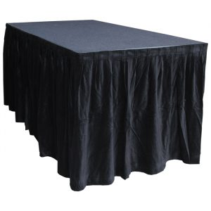 6.0mW x 0.9mD Velvet Skirt with 50mm Velcro Strip along Top and Side Patches - Black