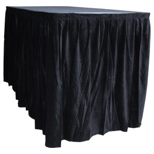 6.0mW x 1.2mD Velvet Skirt with 50mm Velcro Strip along Top and Side Patches - Black