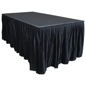 7.25mW x 0.9mD Velvet Skirt with 50mm Velcro Strip along Top and Side Patches - Black