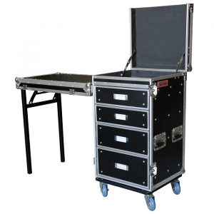 Drawers (4) Case with Top Storage & Removable Front Cover for Side-Mount Bench - Black