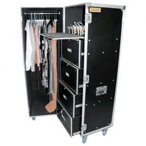 Clam-Shell Style Hanging Costume & Drawers Road Case - Black