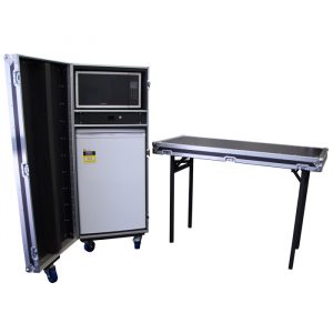 Mobile Bar Fridge & Microwave Oven Road Case with Detachable Side Bench - Black