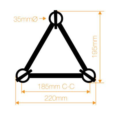 F23 Tri Truss 2 Way 45° Horizontal Corner (Apex Up/Down) with Spigots, Pins & R-Clips