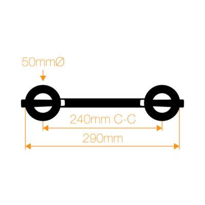 F32 2 Way 45° Corner with Spigots, Pins & R-Clips - Horizontal