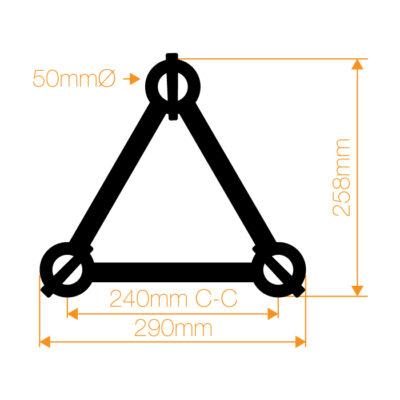 F33 Tri Truss 2 Way 45° Horizontal Corner (Apex Up/Down) with Spigots, Pins & R-Clips