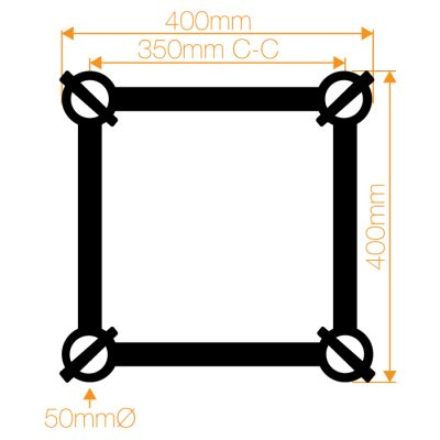F44P Square Truss 3 Way 90° Corner to Vertical Junction with Spigots, Pins & R-Clips