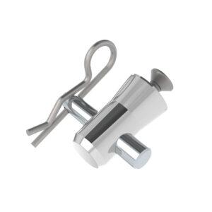 F14 Truss Aluminium Base Plate Half-Spigot with Pin, M6x12 Countersunk Screw & R-Clip