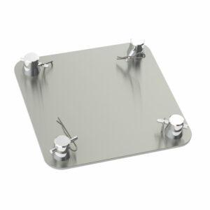 F24 Truss 240mm x 240mm x 5mm Square Aluminium Base Plate with Half-Spigots, Pins & R-Clips