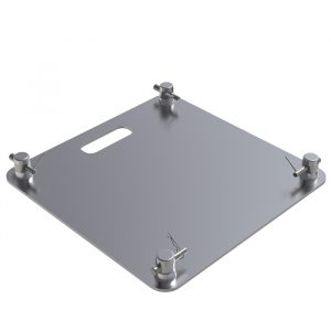 F54 Truss 550mm x 550mm x 8mm Square Laser Steel Base Plate with Spigots, Pins & R-Clips