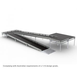 Complete Portable Stage Ramp with landings and guard rails to heights of 900mmH in 150mmH increments