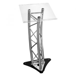 F33 Style Curved Lectern Truss with Clear Acrylic Top, Adjustable Base and Signage Frame, all Fixing Bolts & Feet.