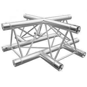 F23 Tri Truss 4 Way Horizontal X-Junction (Apex Up/Down) with Spigots, Pins & R-Clips