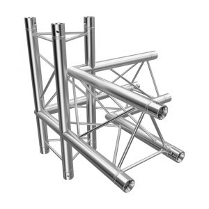 F23 Tri Truss 4 Way 90° Horizontal Corner to Vertical Junction (Up & Down) with Spigots, Pins & R-Clips - Left