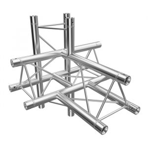F23 Tri Truss 5 Way Horizontal T- to Vertical Junction (Up & Down) with Spigots, Pins & R-Clips