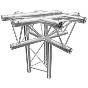F23 Tri Truss 5 Way Horizontal X- to Vertical Junction (Apex Down) with Spigots, Pins & R-Clips