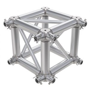 F24 Square Truss 6 Way Cube Junction with Half-Spigots, Pins & R-Clips for 2 Faces