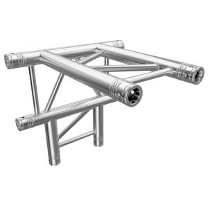 F32 Flat Truss 4 Way T- to Vertical Junction with Spigots, Pins & R-Clips - Horizontal