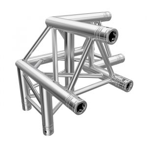 F33 Tri Truss 3 Way 90° Horizontal Corner (Apex Up) to Vertical Junction with Spigots, Pins & R-Clips - Left