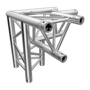 F33 Tri Truss 3 Way 90° Horizontal Corner (Apex Down) to Vertical Junction with Spigots, Pins & R-Clips - Left