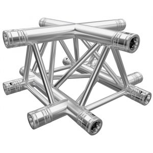 F33 Tri Truss 4 Way Horizontal X-Junction with Spigots, Pins & R-Clips