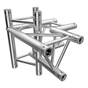 F33 Tri Truss 4 Way 90° Horizontal Truss Corner to Vertical Junction (Up & Down) with Spigots, Pins & R-Clips - Left