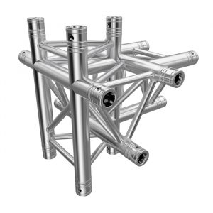 F33 Tri Truss 5 Way Horizontal T- to Vertical Junction (Up & Down) with Spigots, Pins & R-Clips