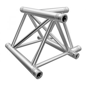 F43P Tri Truss 3 Way Horizontal T-Junction (Apex Up/Down) with Spigots, Pins & R-Clips