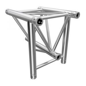 F43P Tri Truss 3 Way Vertical T-Junction (Apex Down) with Spigots, Pins & R-Clips