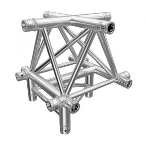 F43P Tri Truss 5 Way Horizontal X- to Vertical Junction (Apex Up) with Spigots, Pins & R-Clips