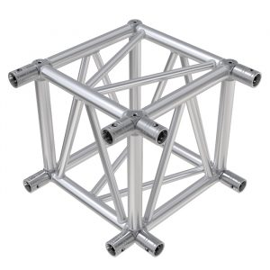F54 Square Truss 6 Way Cube Junction with Socket Connectors & Bolts for 2 Faces