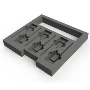 6 Way-Sennheiser Belt Pack EW100, EW300 and EW500 foam insert for 380mmD Drawer