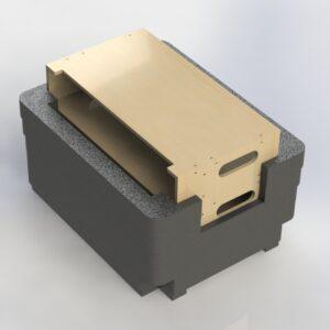 2 x 2RU Rack Mount Sleeves in 9mm Black Plywood + Custom CNC Foam Insert to suit 10 x Sennheiser Belt Packs + 2 x Sennheiser A2003-UHF in SKB Series Road Case