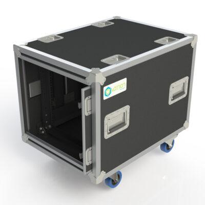 10RU Anti-Vibration Rack Mount Case with Slide-away doors; 800mmD OD; Rack Frame 559mmD - Black