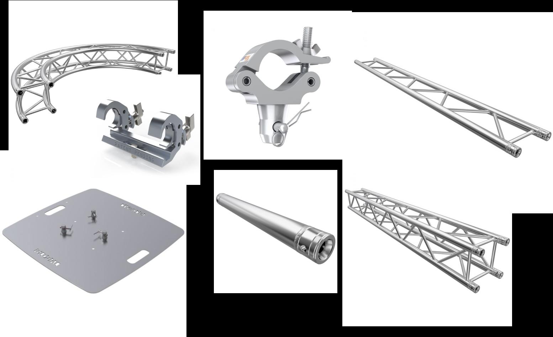 Flat truss, tri-truss, box truss, base plates and accessories
